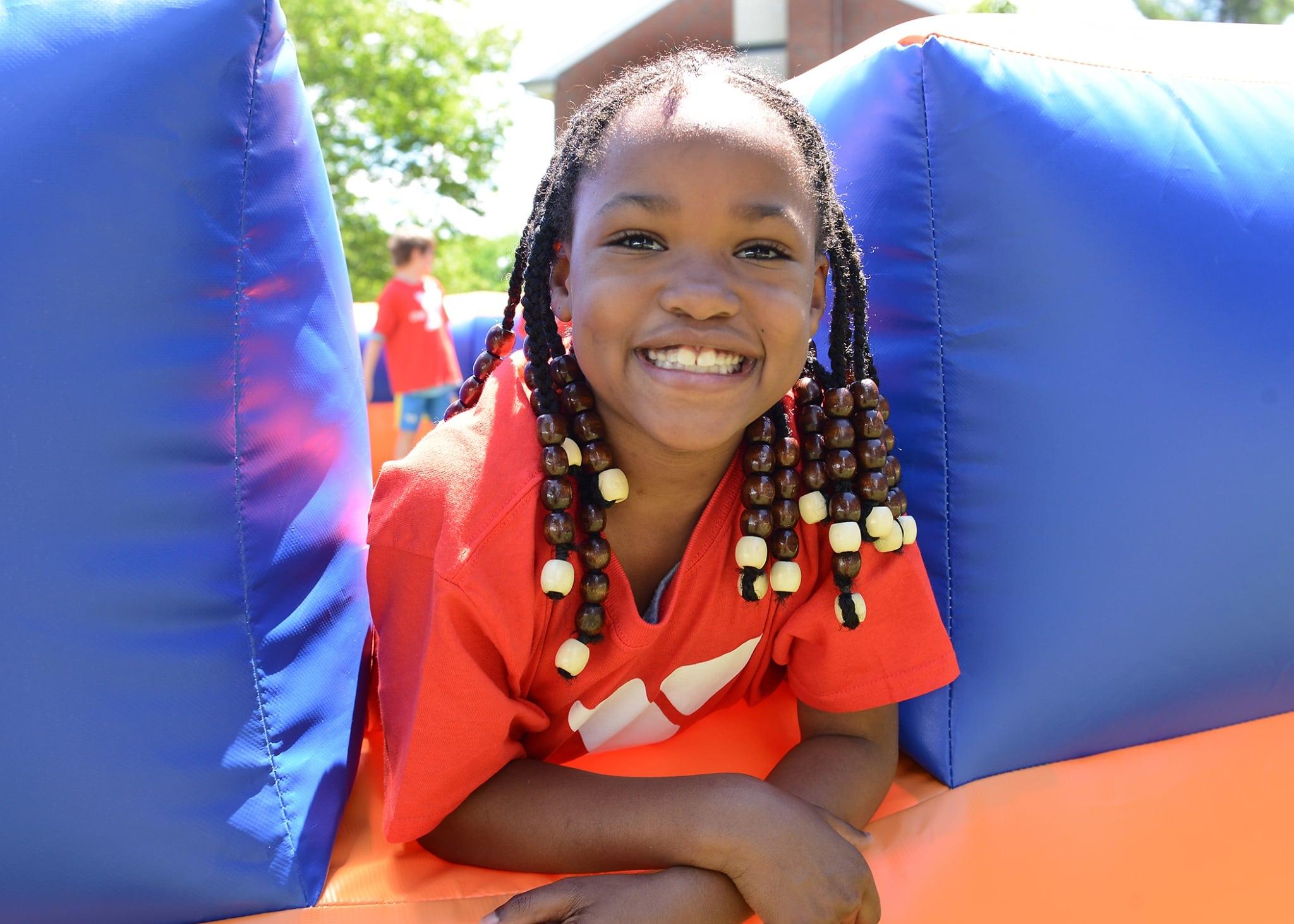 Smiling girl at camp