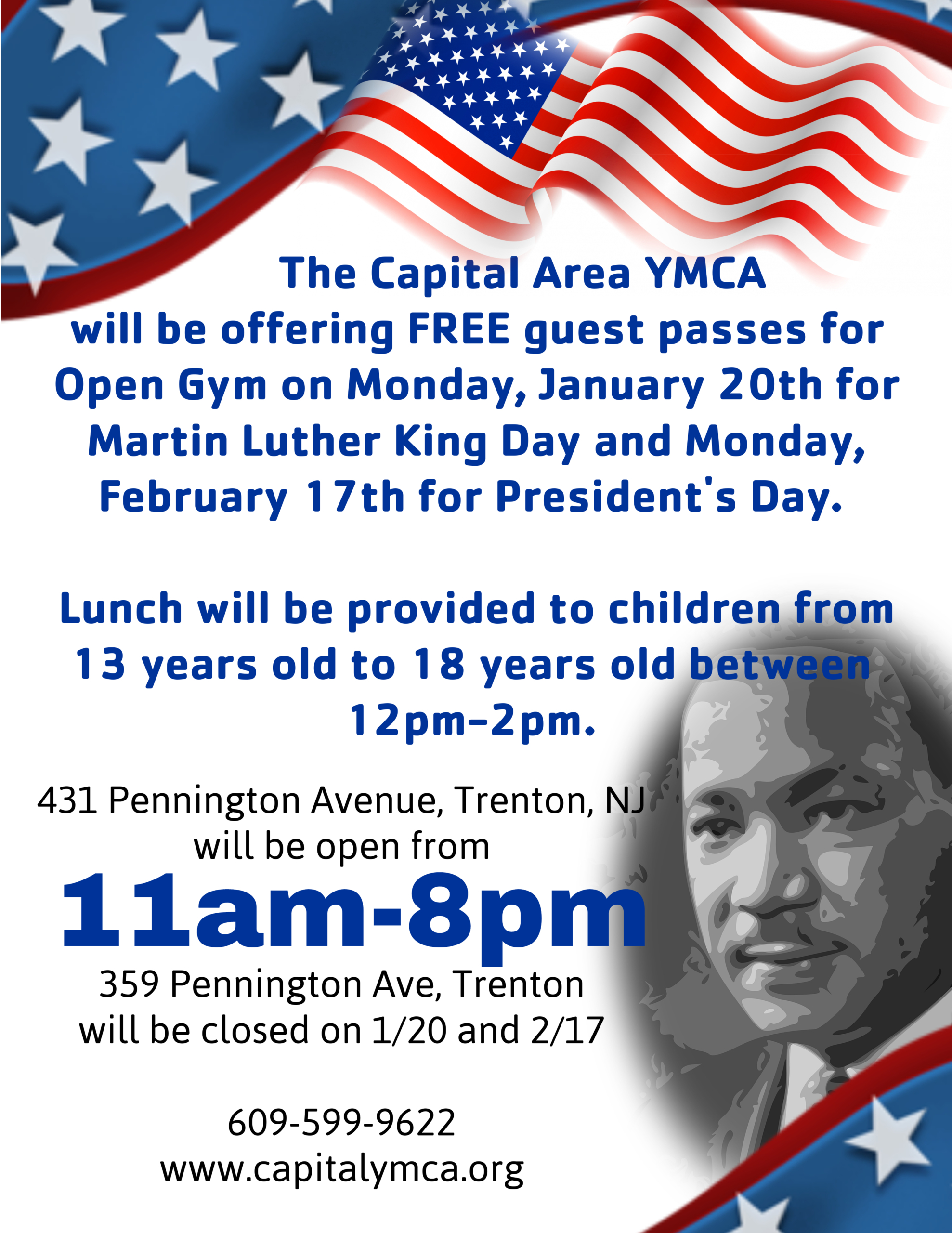 Y Open Martin Luther King's Birthday. School, Classes and Office Closed @ Lawrence Township | New Jersey | United States
