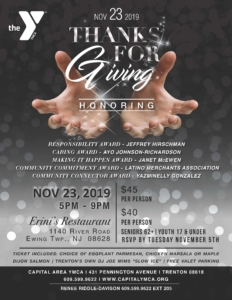 Thanks for Giving - Y Not the Y @ Erini's Restaurant | Ewing Township | New Jersey | United States