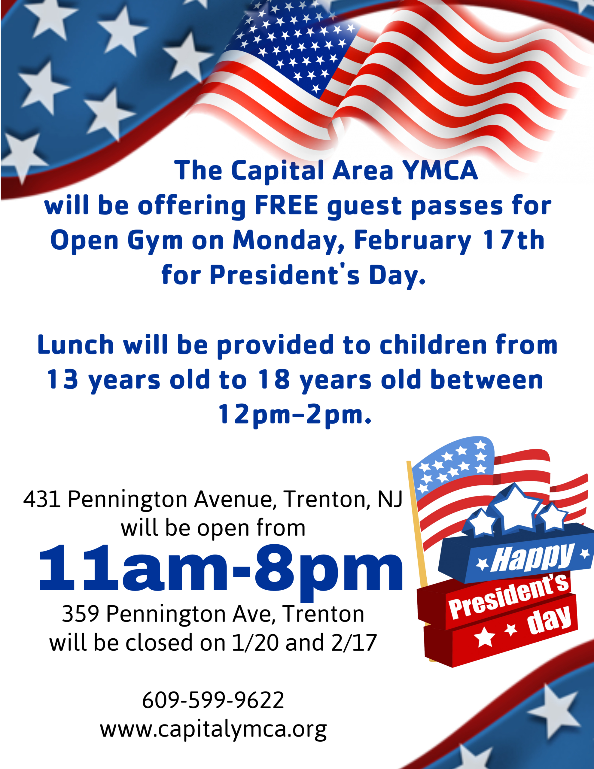 431 Pennington Open Presidents Day 11 am- 8pm -  359 Pennington, School Classes and Office Closed